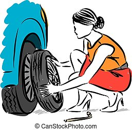 woman changing flat tire vector illustration