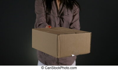 Hands of a courier holding carton cardboard box package