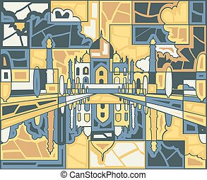 Taj Mahal mosaic - Editable vector mosaic design of the Taj...