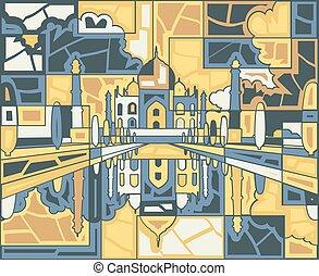 Taj Mahal mosaic - Editable vector mosaic design of the Taj...