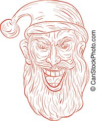 Evil Santa Claus Head Drawing - Drawing sketch style...