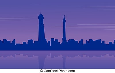 City building in Londing scenery silhouettes vector...