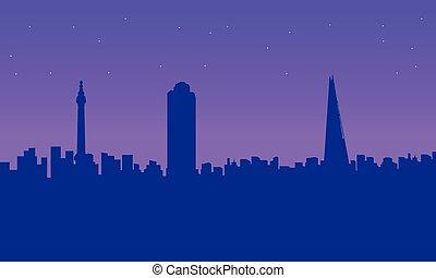 London city building beauty landscape silhouettes vector...