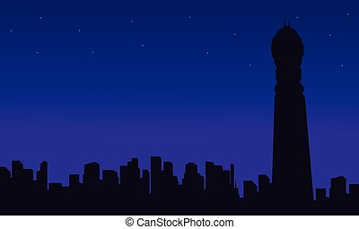 London city building with BT Tower silhouettes vector...