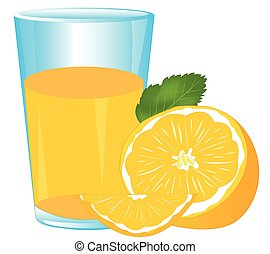 Juice and tangerine - Glass of juice from fruit tangerine on...