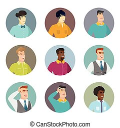 Vector set of business characters in the circle. - Young...