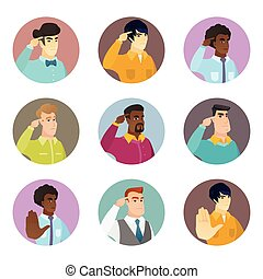 Vector set of business characters in the circle.