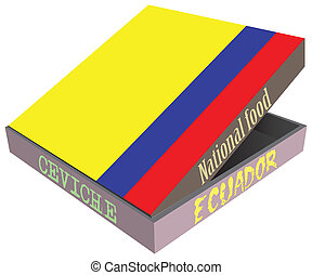 Ecuadorian national dish Seviche. Box for food delivery.