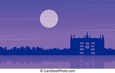 At night guidhall london scenery silhouettes vector...
