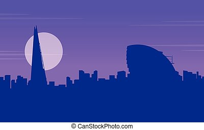 Silhouette Of City Hall London Landscape vector illustration