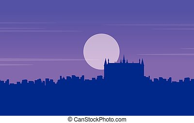Silhouette of London building Guidhall scenery vector...