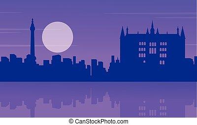 Silhouette London city building landscape vector...