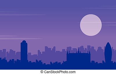 Silhouette of London building scenery collection...