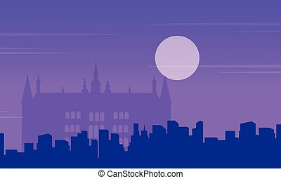 Guidhall London at night landscape collection vector...