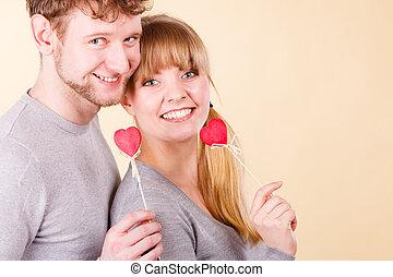 par, corações, Feliz