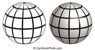 Illustration of a wire frame planet sphere, graticule globe Meridian and parallel field lines on the surface Meridian and parallel, vector template graticule