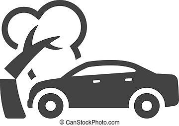 BW Icons - Car crash - Car crash icon in single color....