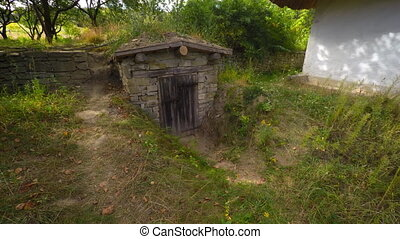 Small Root Cellar Storage on Rural Ukrainian Farm - Small,...