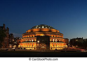 Royal Albert Hall at night.