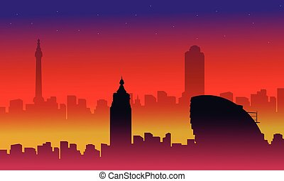 Collection of London city building silhouettes scenery...
