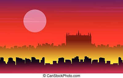 Vector illustration of London city scenery