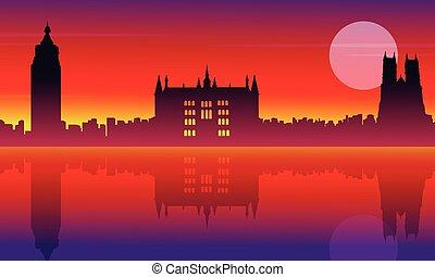 London city building silhouette style landscape vector...