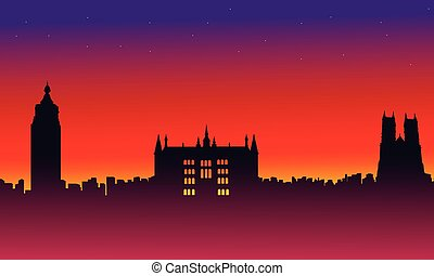 On red background London city building landscape vector...