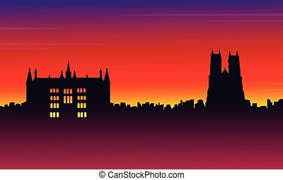 Silhouette London city on red background scenery...
