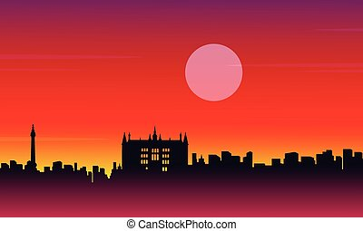 Landscape city London building silhouettes style vector art
