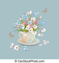 Herb and Flowers in the Cup