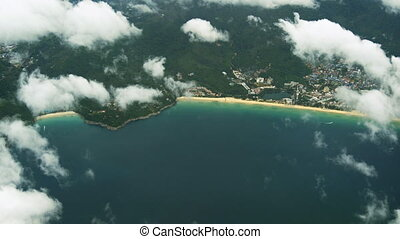Dramatic Aerial View of Karon Beach in Thailand. FullHD...