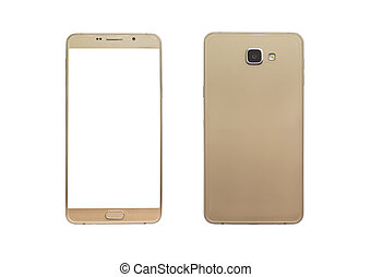 Gold phone front and backside view isolated on white...