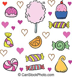 Collection stock of candy various colorful doodles