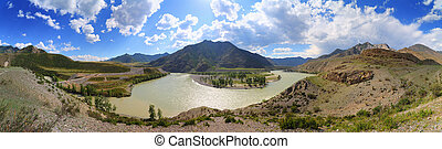 confluence of Chuya and Katun Rivers in Altai - The...
