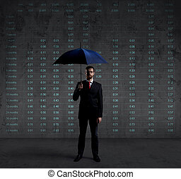Businessman with umbrella standing over diagram background. Business, insurance, coverage concept.