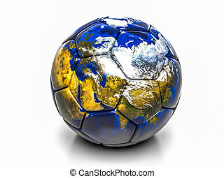 Soccer ball with the image of parts of the world 3d render -...