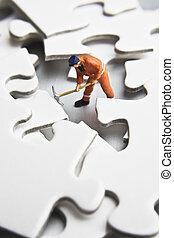 puzzle, statuette, pezzi