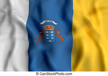 Canarias flag waving - 3d rendering of a Canarias flag...