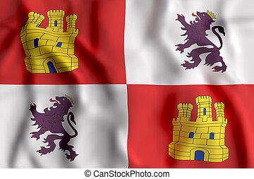 Castilla Leon flag waving - 3d rendering of a Castilla Leon...