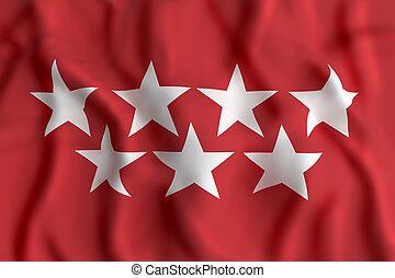 Madrid flag waving - 3d rendering of a community of Madrid...
