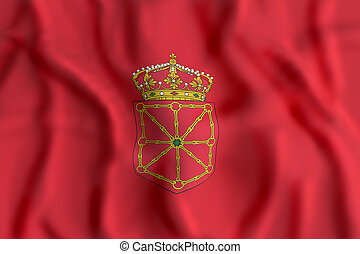 Navarra flag waving - 3d rendering of a Navarra flag waving