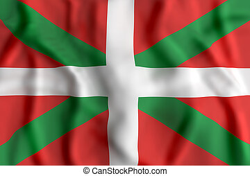 Basque Country flag - 3d rendering of a Basque Country flag