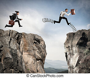 Irregular competition with obstacle - Businessman with...