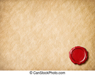 Old parchment paper with red wax seal - Old parchment letter...