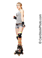 Pretty young blonde on roller skates. Isolated