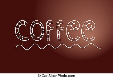 Menu element for cafes - Hand drawning lettering of word...
