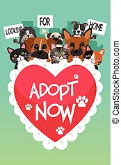 Pets For Adoption Poster - A vector illustration of Pets For...