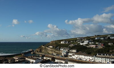 Timelapse white clouds Portreath.