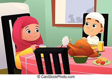 Muslim Children Eating At Dining Table - A vector...