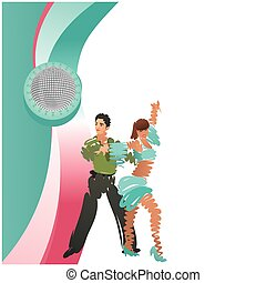 Color image of a dancing couple. Square vector frame